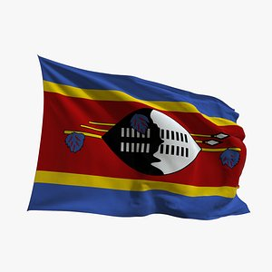 Realistic Animated Flag - Microtexture Rigged - Put your own texture - Def Swaziland 3D