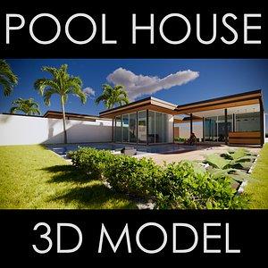 modern house pool 3D model