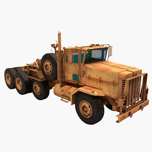 realistic vray rig game model pbr truck military tractor army transport trailer semi-trailer semi oshkosh m1070 camo desert towing camouflage wheeled 3D