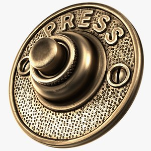 Round Solid Brass Doorbell Button 3D model