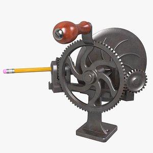3D Antique Cast Iron Pencil Sharpener
