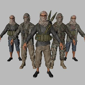 3D insurgent gun soldier