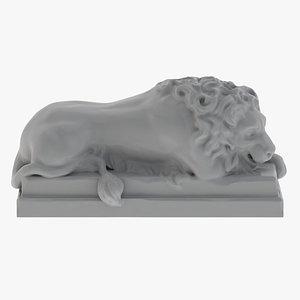 Lion stone statue 01 3D Print 3D model