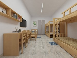 3D model dormitory staff dormitory upper and lower bedroom