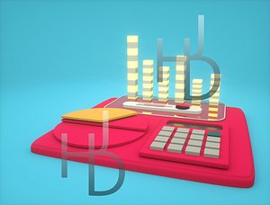 3D isometric business assets Low-poly 3D