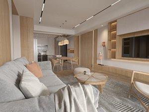3D Japanese Living And Dining Room