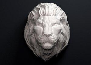 lion head sculpture 3D model