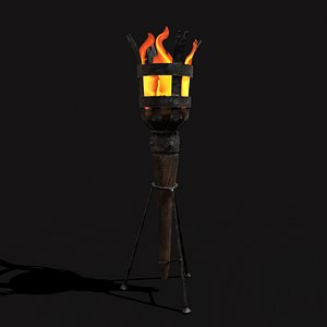 3D model Medieval Standing Torch