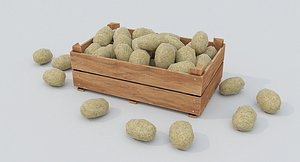 Wooden crate and potatoes 3D