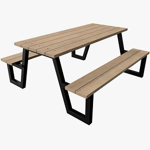 3D Picnic Table v6 with Pbr 4K 8K model
