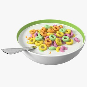 3D Colored Cereals Rings Breakfast with Milk model