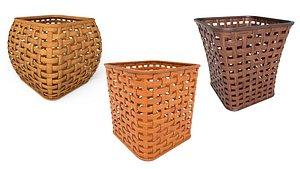 3D Wicker wooden baskets model
