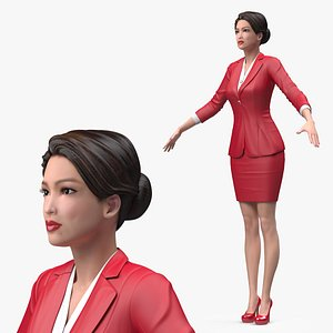 3D Asian Business Woman T Pose