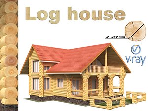 3D wonderful log house model