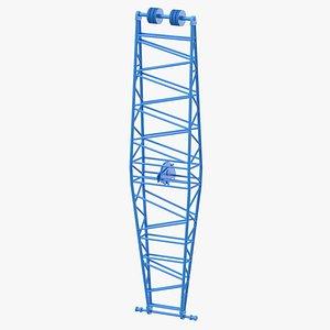 3D crane jib mast