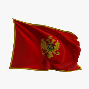 3D model Realistic Animated Flag - Microtexture Rigged - Put your own texture - Def Montenegro