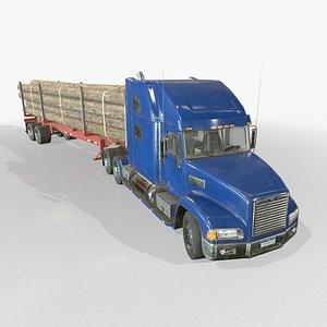 Semi Truck Log Trailer - Low Poly 3D model