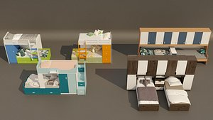 5 item bunk bed design collection. 3D model