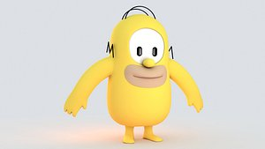3D fall guy Homer Simpson