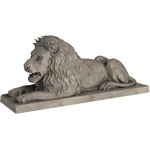 Stone Lion Sitting Sculpture 3D model