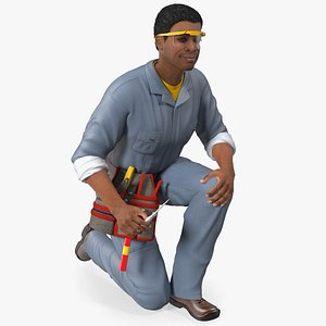 3D Light Skin Black Man Electrician Inspecting Pose