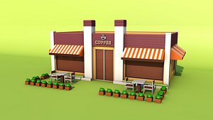 Cartoon Coffee House Coffee House Water Bar Bar Water Bar Restaurant Shopping Center Leisure Afterno 3D