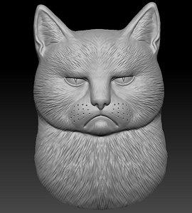 3D model sad angry cat