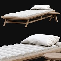 Wooden outdoor chaise lounge S18