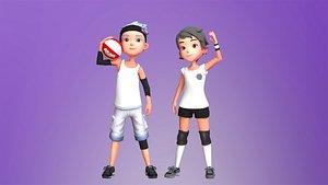 3D teen girl character model