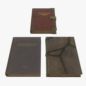 3D Low Poly Rigged Necronomicon Book 3 Model Pack With PBR Materials
