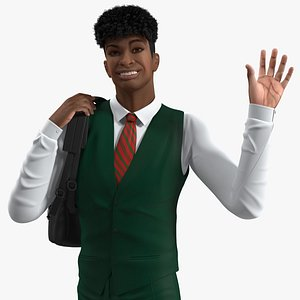 3D Black Teenager Light Skin School Uniform Rigged for Cinema 4D model