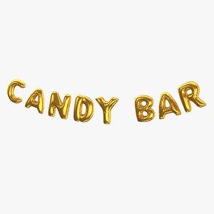 Foil Baloon Words Candy Bar Gold 3D