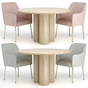 Elowen Armchair Travertine Dining Table 3D model