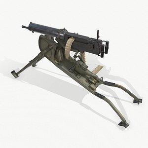 German MG-08 Machine Gun 3D