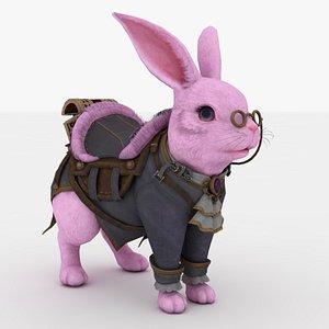 Pink Rabbit Rigged 3D