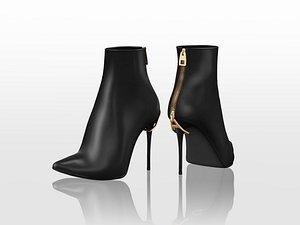 3D Tangled Zip Heels Ankle Boots model