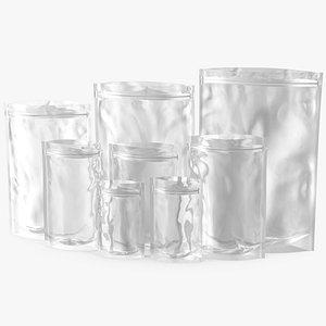 Transparent Plastic Bags Open 3D