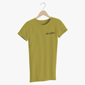 3D model Female Crew Neck Hanging Yellow Delivery 03