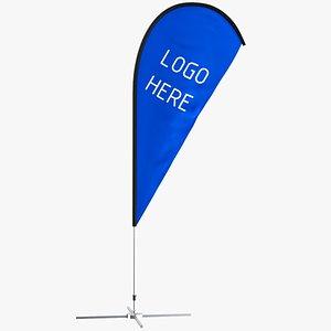 3D flag banner model