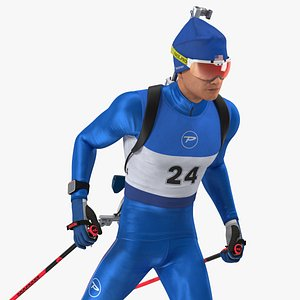 Biathlete Fully Equipped USA Team Rigged for Cinema 4D 3D model