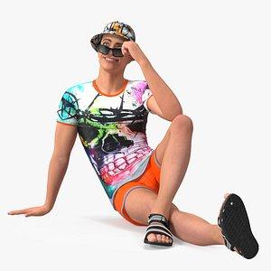 Teen Boy Swimwear Sitting Pose 3D