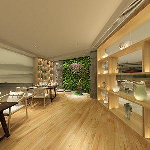 Asian Restaurant - Dining Hall 3D model