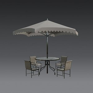 3D Patio Table - Outdoor Table - set - Low poly model