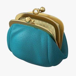 Female coin purse open 3D model