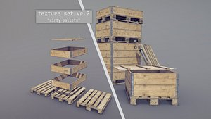 3D model Cargo Wood Pallets Collars Cover EUR EPAL vr-2
