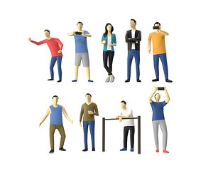 3D Low Poly Human - Standing Audience Pack