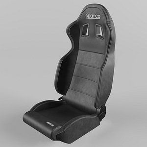 3D model Sparco R100 Sports Racing Seat Leather  Black-Black