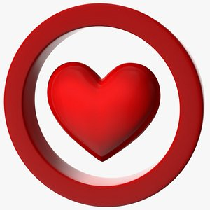 Red Heart in Circle 3D model