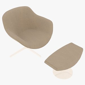 Cassina 277-22 Auckland Arm Chair and 277-42 Auckland Ottoman Sandy Fabric White Body 3D