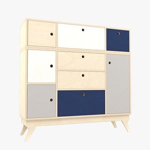 Plywood chest of drawers 3D
